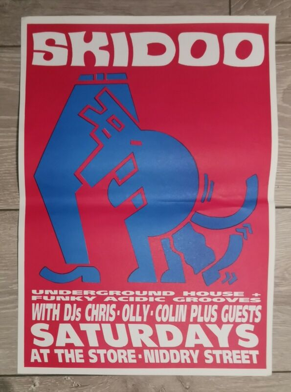 Orig 1993 SKIDOO Rave Acid Chicago House Detroit Techno CLUB POSTER Keith Haring