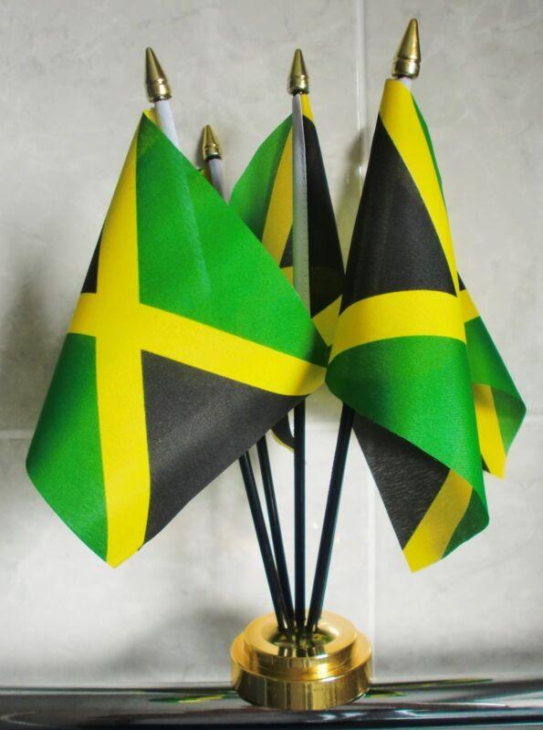 JAMAICA TABLE FLAG SET 5 flags plus GOLDEN BASE JAMAICAN CARIBBEAN RASTA