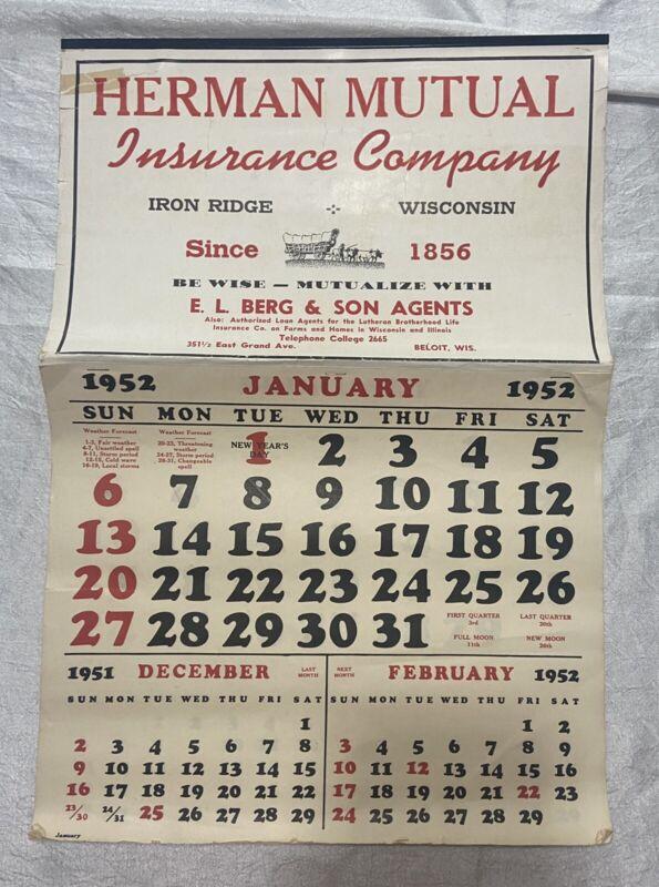 Vintage 1952 Calendar Herman Mutual Insurance Co. Iron Ridge Wisconsin