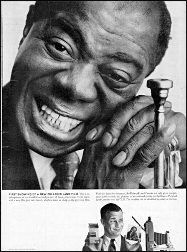 1958 Polaroid land camera Louis Armstrong jazz man vintage photo print ad adl79