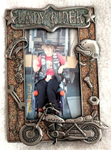 "Vtg Photo of Disabled Girl Wearing Harley Davidson Patches in ""Lady Rider"" Frame"