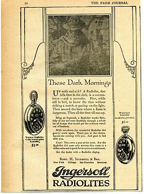 1921 small Print Ad of Ingersoll Radiolites Yankee & Waterbury Pocket Watch