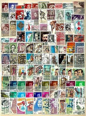 ESPAGNE-SPAIN-lot de 100timbres oblitérés tous différents                 #20-01
