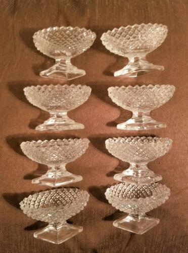 Set of 8 Antique Oval Crystal Open Salt Cellars Dips