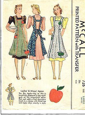 VINTAGE-1939-LARGE(40-42)- MULTI STYLE APRON PATTERN...GREAT DETAILS... # 106
