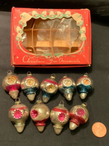 VINTAGE MINIATURE GLASS CHRISTMAS ORNAMENTS - TINY TEARDROP WITH INDENTS