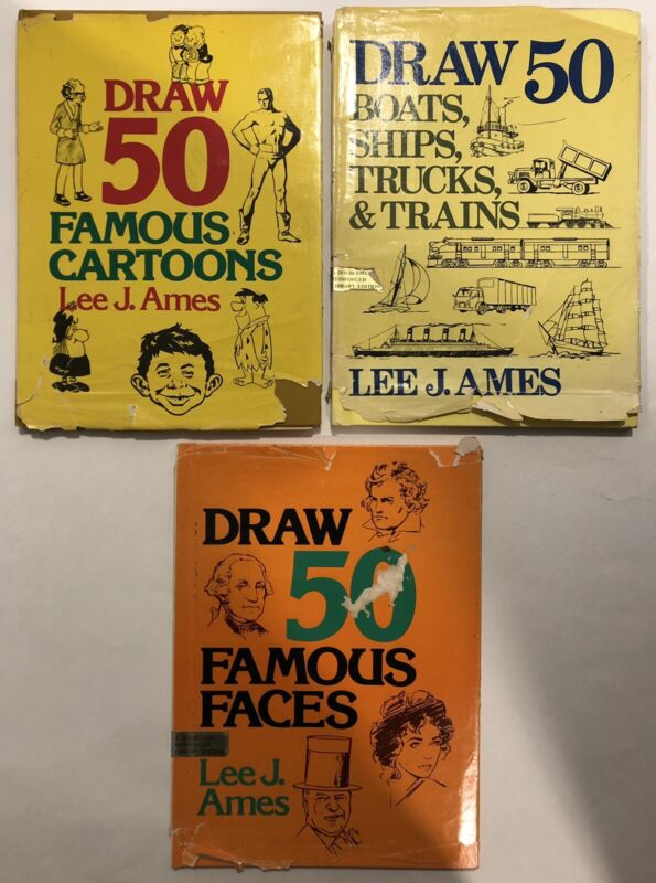 Vintage 1970's Draw 50 By Lee J. Ames, 3 Books: Famous Faces, Cartoons, Boats