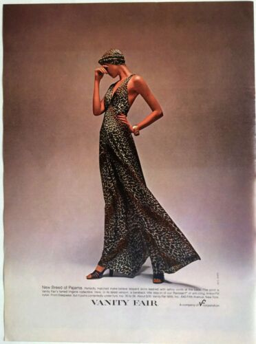 1976 VANITY FAIR New Breed Of Pajama Leopard Skin Lingerie Vintage Print Ad