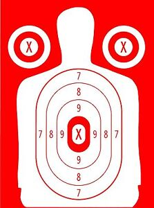 Red Police Pistol & Rifle Human Silhouette Shooting Targets -14x20 -54 Qty