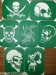 Pack of 7 Skulls-1  Skull Vinyl Tattoo Body Art Stencils Glitter-Airbrush