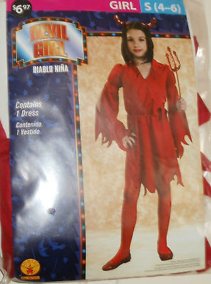 Girls Devil (New Girls Devil Girl Costume Dress  size Small 4-6 Red Dress Only)