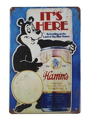 US SELLER, Hamms Beer drink bar bear tin metal sign discount home decor - Discount Home Decor