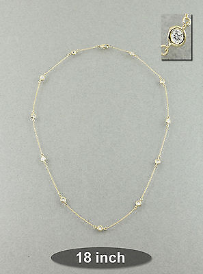 "Rhodium Gold 18"" Bezel Set Clear Cubic Zirconia CZ Station Necklace"