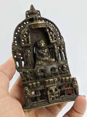 Indian Jain Shrine Bronze with Silver Eyes - Inscribed Deity Buddha
