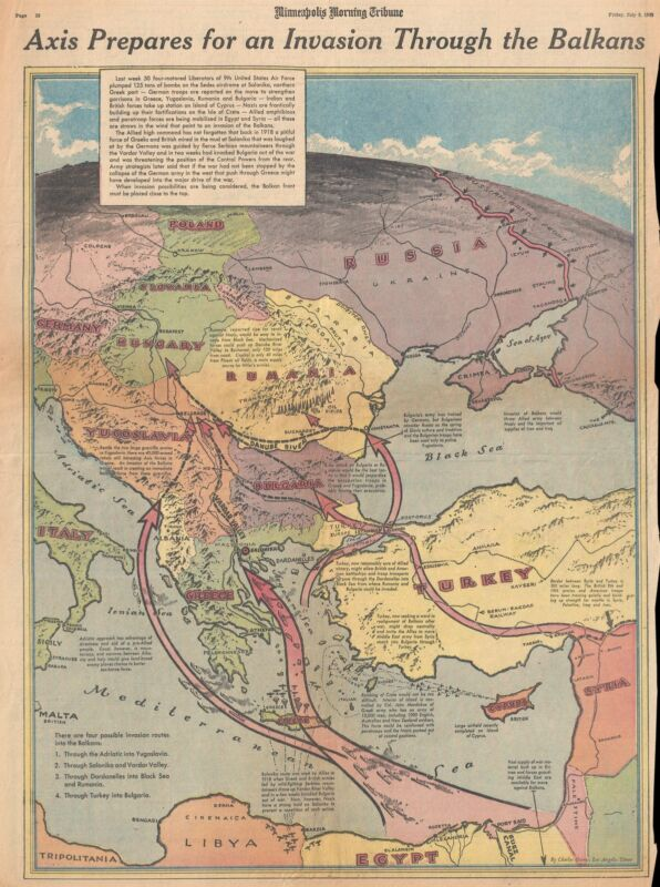 1943 Owens Map of the Possible Allied Invasion of the Balkans