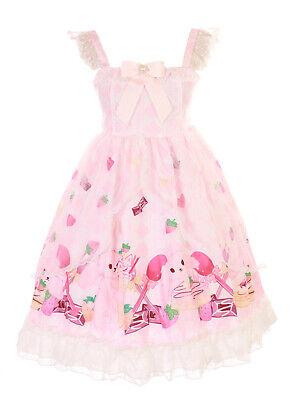 JSK-61-2 Rosa Conejo Bunny Fresa Desert Dulce Pastel Vestido Lolita Cosplay