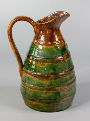 Antique 19th Century French Glazed Green Earthenware Terra Cotta Pitcher Jug