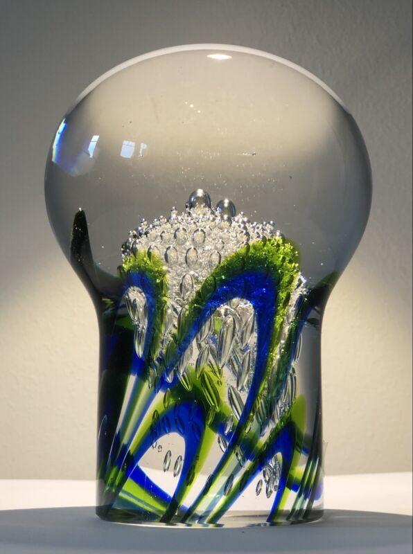 "Large Solid ""Jewelry"" GORAN WARFF KOSTA BODA Bubble Art Glass Sculpture, 1950"