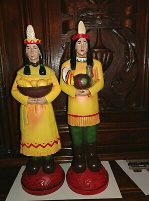 Native American statues male and female Indian Thanksgiving table ornament