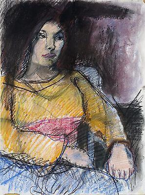 "Michael Steiner ""Woman Series #3"", Pastel & Charcoal, 23""h x 17""w image"