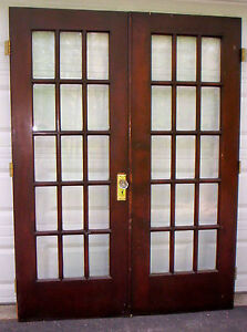 1 Set of Antique 15 Light Beveled Glass French Doors C1916  60
