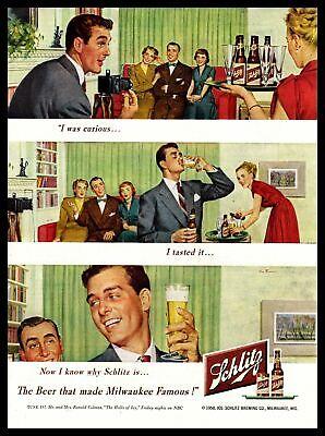 1950 Schlitz Beer Bottle Living Room Couch Photo Session Vintage Print Ad