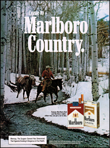 1984 Marlboro cigs cowboy horseback snowy forest stream retro photo print ad S20