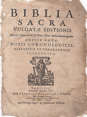 1691 Small Folio Biblia Sacra (Latin) Bible Leaves -YOU CHOOSE THE LEAF