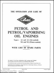 Petter A1 Stationary Engine Manual A1, A2, W1, W2 1951 Onwards Instruction Book
