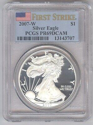 2007-W Silver Eagle + PCGS PR69DCAM + No Reserve!