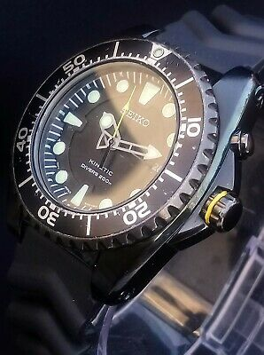 ** MENS SEIKO KINETIC 200M SCUBA DIVERS BLACK/STAINLESS STEEL WATCH **