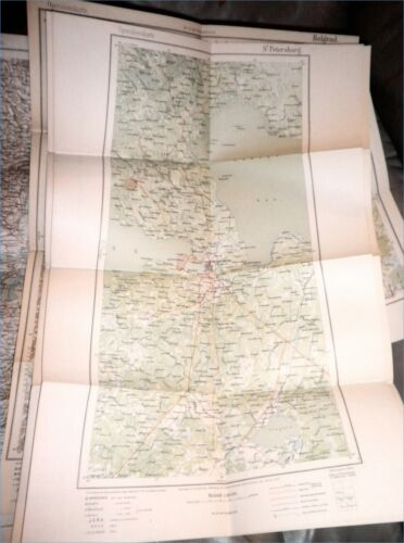 WWI 1915 German Army Military Map E. Europe,St. Petersburg, Russia,Prussia,RARE