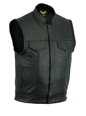 SOA Men Sons of Anarchy Motorcycle Biker Club Leather Vest Concealed Carry Arms