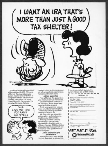 """1985 Peanuts Charlie Brown & Lucy art """"More than a Tax Shelter"""" MetLife print ad"""