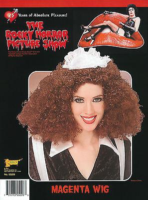 Lockige Halloween Perücke Kostüme (Magenta Perücke Lockig Braune Rocky # Horror Show Halloween Kostüm Zubehör)