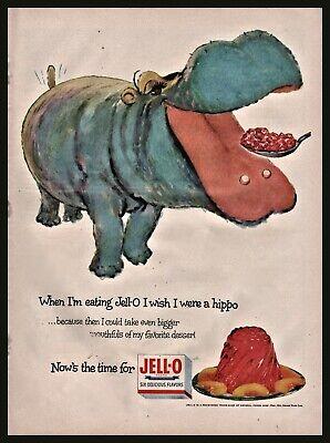1954 JELL-O Jingle Hippopotamus Hippo Art Vintage Food Kitchen Wall Art PRINT AD