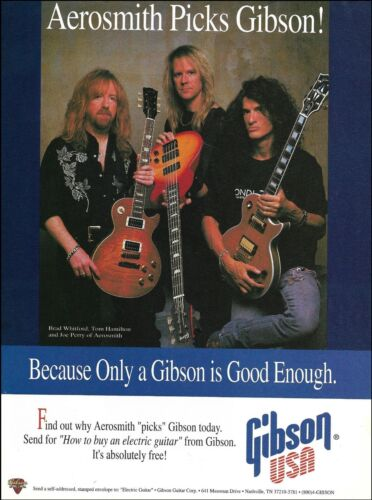 Aerosmith Joe Perry Brad Whitford Tom Hamilton 1994 Gibson Les Paul Guitar ad