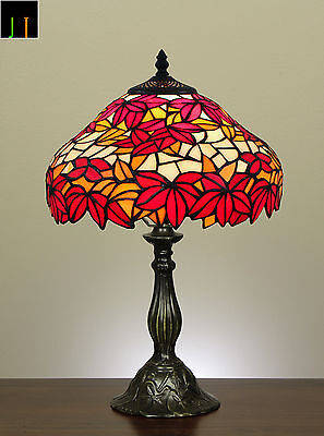 Autumn Sale Tiffany Style Red Maple Leaf Stained Glass Table Desk Lamp Art Deco