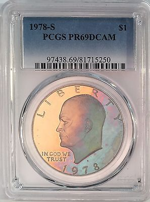 Click now to see the BUY IT NOW Price! 1978 S EISENHOWER CLAD DOLLAR PCGS PR69 DCAM  MULTI MONSTER COLOR TONED 14880