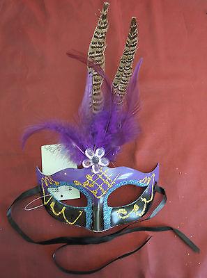 aske Karnevalsmaske, Faschingsmaske, Maskenball, Feder, lila (Venezianische Maske Federn)
