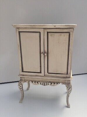SHABBY CHIC FRENCH STYLE CUPBOARD WHITE GREY PAINTED DOLLS HOUSE DOLLHOUSE