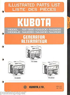 Kubota Generator Illustrated Parts List Manual Na1900 Thru Na3500 1986