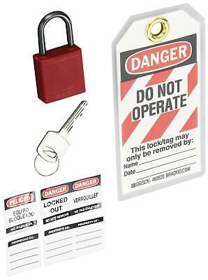 Brady Compact Lockout Tagout Padlock Personal Safety Kit - 123143 - Red