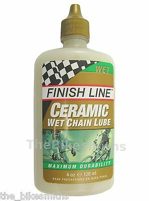 Finish Line Wet Ceramic Bike Lube Chain Oil Drip Bottle Economy Size 4Oz