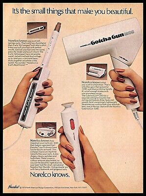 1979 Norelco Hair Nails Styling Tools Vintage PRINT AD Beauty Appliances 1970s
