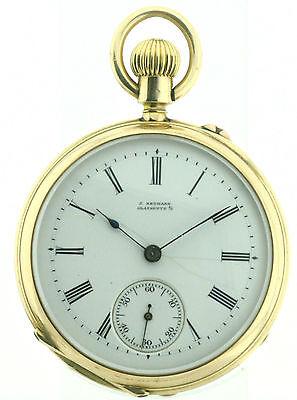 J. Assmann Glashütte offene Taschenuhr in 585/14k guillochiertes Goldgehäuse