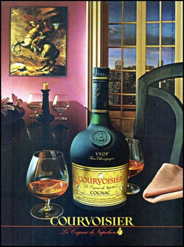 1985 Courvoisier cognac bottle city window view vintage photo Print Ad ads15