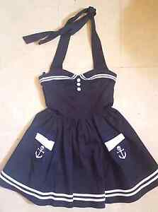 Black, hell bunny 50's nautical halter dress Size M Browns Plains Logan Area Preview