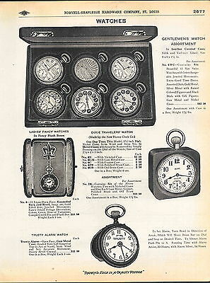 1910 ADVERT New Haven Dixie Travelers' Watch Store Display Case Trusty Alarm