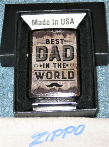 ZIPPO  BEST DAD IN THE WORLD Lighter FOR THE SPECIAL DAD Mint In Box NEW 2021